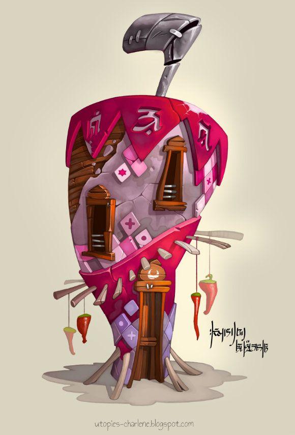 Chilli Pepper House, Charlène Le Scanff (AKA Catell-Ruz) on ArtStation at https://www.artstation.com/artwork/chilli-pepper-house