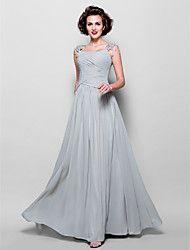 Lanting Bride® Trapèze Grande Taille / Petite Robe de Mère de Mariée  Longueur Sol Sans Manches Mousseline de soie / Dentelle -