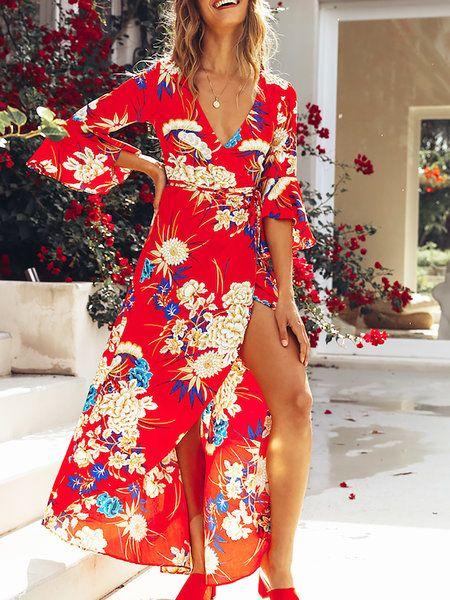 1864c4a2fcf Online Shopping Stylewe Surplice Neck Maxi Dress Swing Beach Dress Bell  Sleeve Holiday Asymmetric Floral Dress