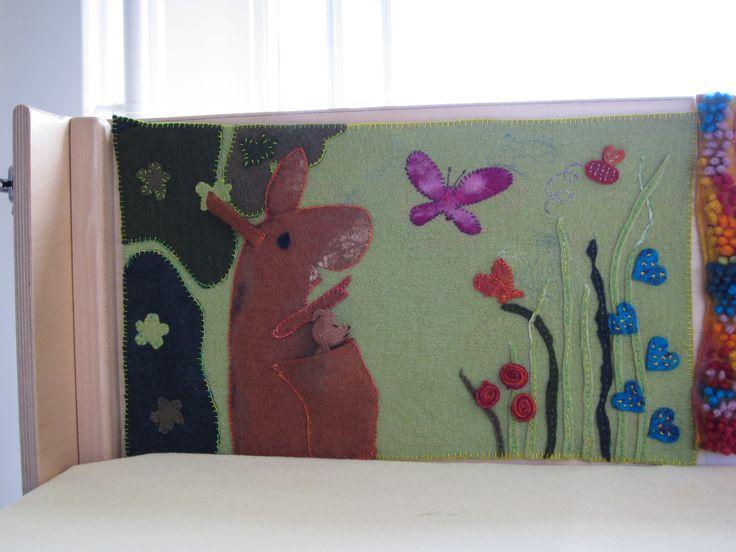 Felted painting of a picturebook 'Little kangaroo from Guido van Genechten