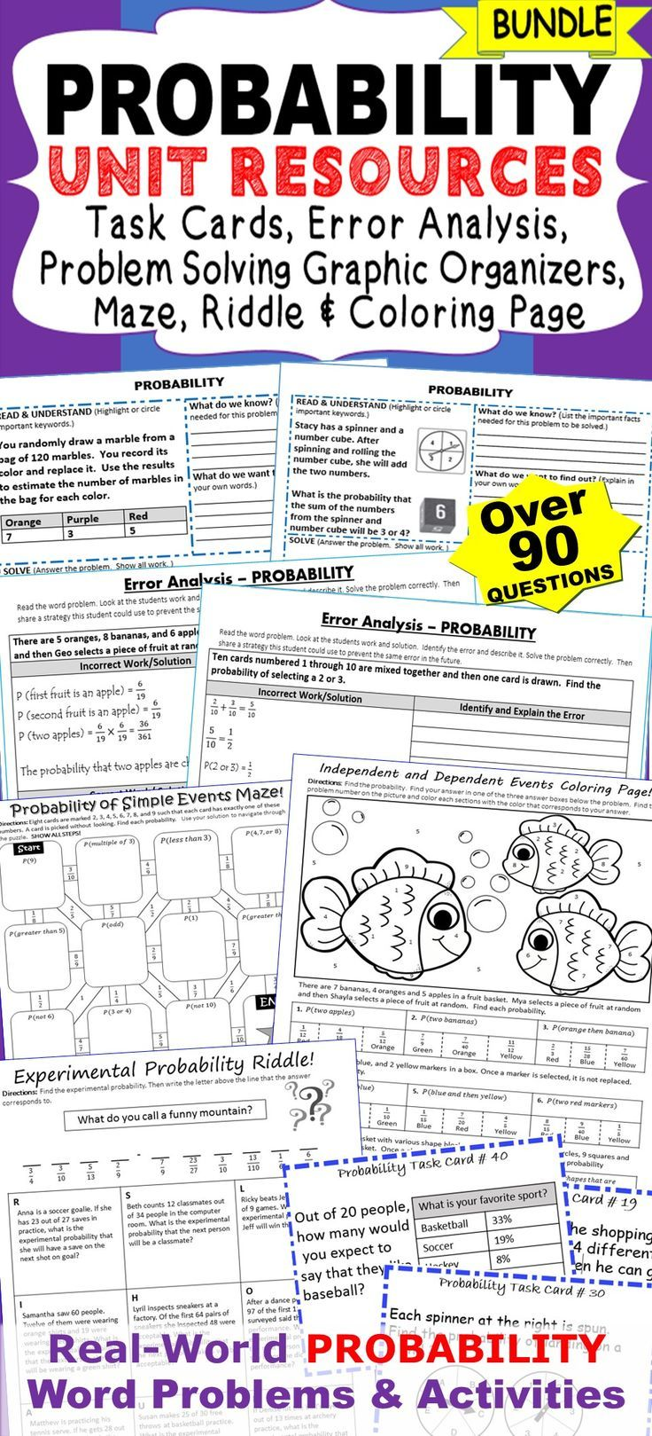 PROBABILITY Unit Resource BUNDLE  Includes 40 task cards, 10 error analysis activities 10 problem solving graphic organizers, 1 maze, 1 riddle and 1 coloring activity. Perfect for math assessments, math homework and math stations. Topics : ✔️ probability of simple events ✔️ theoretical and experimental probability ✔️ probability of compound events ✔️ simulations ✔️ Fundamental Counting Principal ✔️ pe