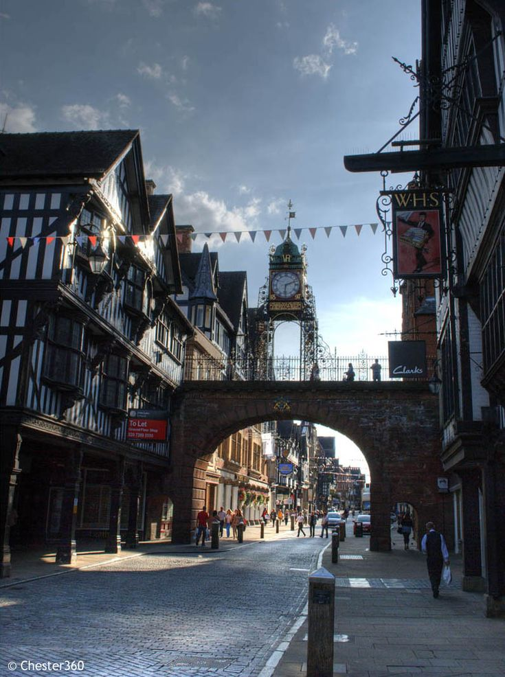 Eastgate Clock in Chester, UK stands on the site of the original entrance to the Roman fortress of Deva Victrix. The present gateway dates from 1768, the clock was designed by the Chester architect John Douglas