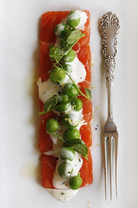 Fresh Pea and Tarragon Remoulade with Salmon Crudo Recipe.