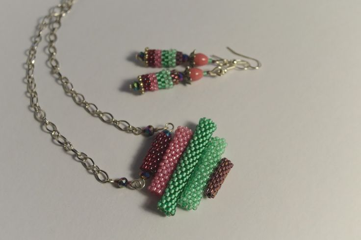 Beaded pendant with earrings by NataliesBijoux on Etsy