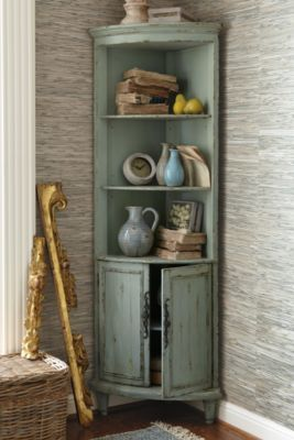 Maldives Corner Cabinet from Soft Surroundings | really like this corner cabinet with a rough look. Shabby chic and teal