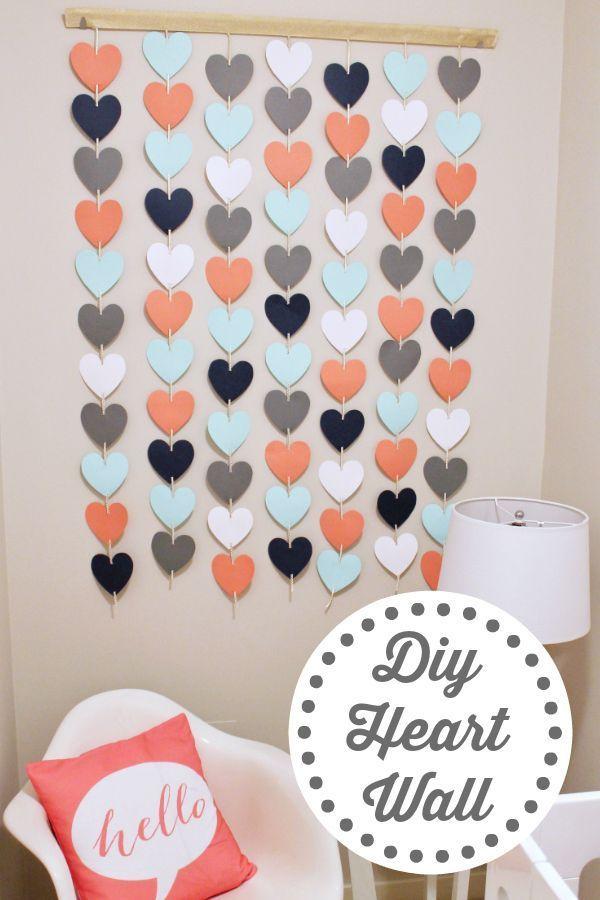 Diy Wall Decor Heart Wall Hanging Easy Nursery Decor Girls