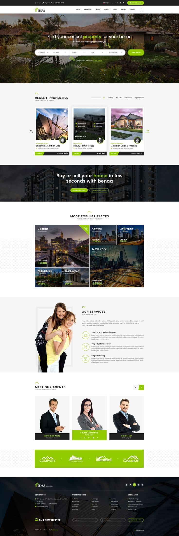 Benaa - Real Estates PSD Template #property #real estate #rent • Download ➝ https://themeforest.net/item/benaa-real-estates-psd-template/20942852?ref=pxcr
