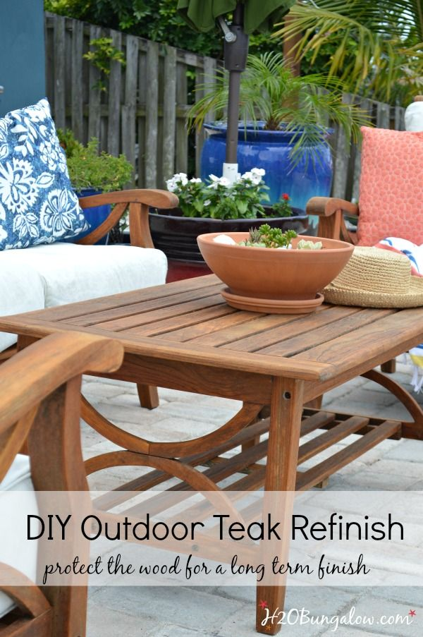 restore outdoor teak furniture tutorial - How To Refinish Wood Table