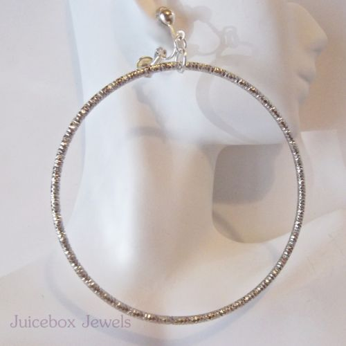 SHERRILYN IFILL CLIP-ON-3-25-Textured-Large-Big-Silver-Gold-Tone-Basketball-wives-Hoop-Earrings