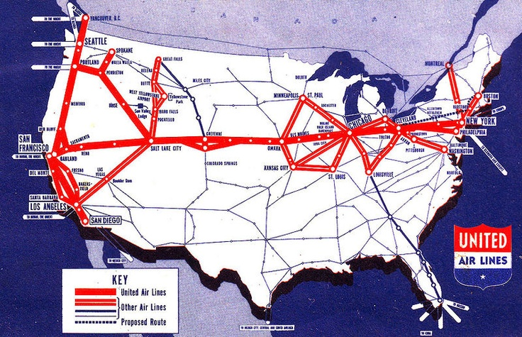 Vintage United Airlines route from 1940 thanks to Harrisburg Airport @HIAirportUnited Airlines, Route Maps, Maps Circa, Ual Route, Airlines 1940, Airlines History, 1940 United, System Maps, 1940 Route