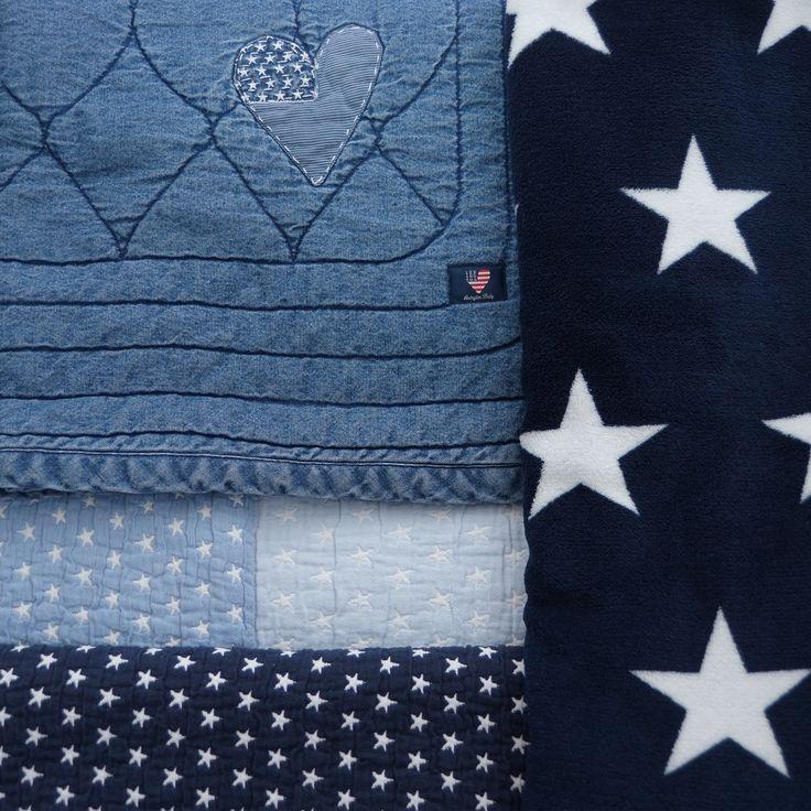 Blankets - you can never have too many :-) Heart, lexington company, star, stars and stripes, boys room, boysroom, inspiration, light blue, pojkrum, molban, jeans, barnrum, blue