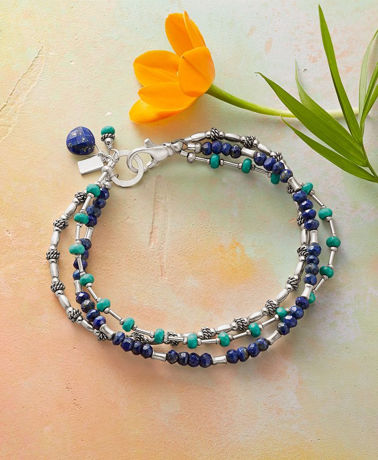 Change It Up Bracelet - Three strands of turquoise, lapis and sterling silver beads