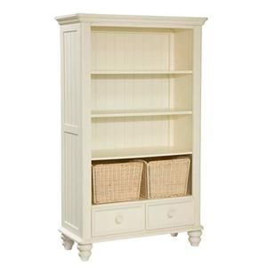 Add accessible storage area to your youth bedroom with this traditional style, open bookcase featuring three fixed shelves, two storage baskets and two bottom drawers.  Design details include turned feet, a slatted case interior, slatted side panels, rounded corners and edges and a crown moulding at the case top. Use this bookcase for stowing books, toys and other necessities.