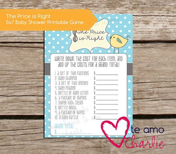 the price is right baby shower game printable newbaby baby shower