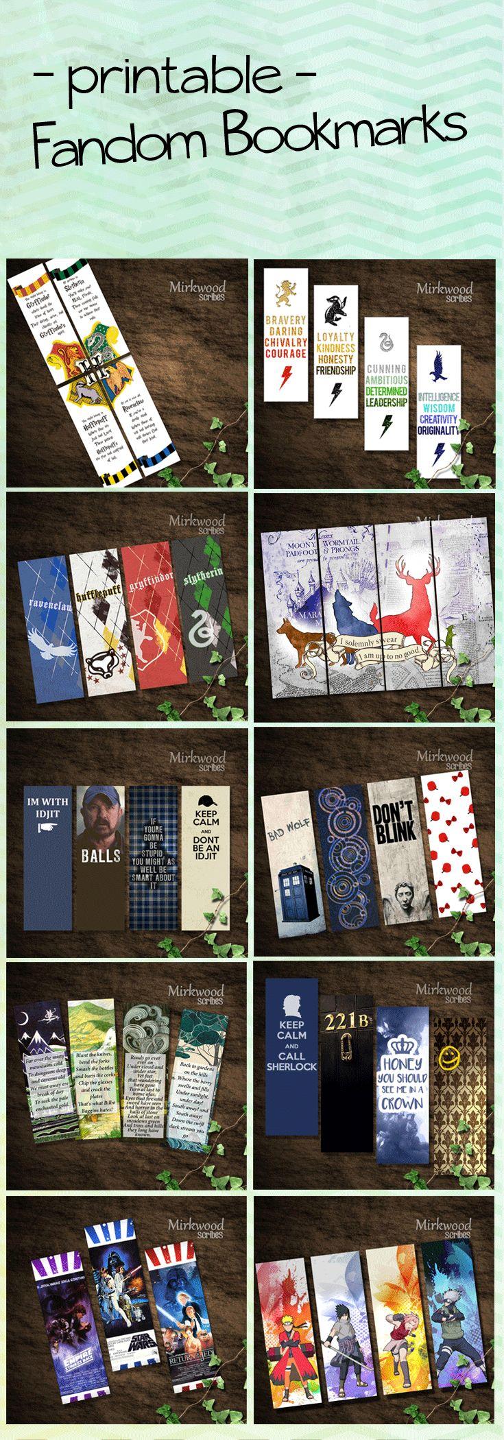 Printable Fandom Bookmarks! Idea: se le puede poner cintas con dijes representativos de cada casa