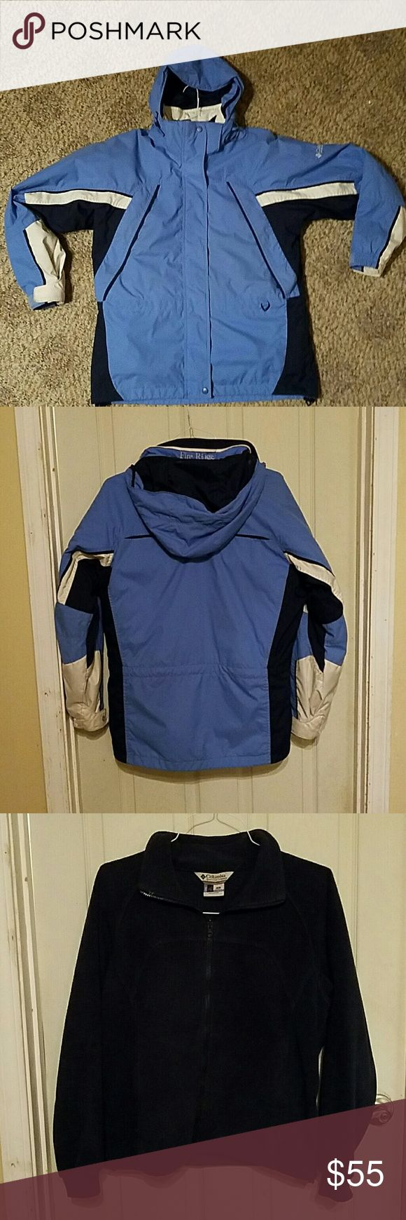 GUC Columbia women's 3-in-1 winter coat Blue shell with white and navy accents. Navy blue fleece zip up. Can be zipped together and worn as one very warm coat or worn separately. Shell has velcro at the wrists, waist drawstring, bottom drawstring, removable adjustable hood, 2 front zippered pockets, inside zippered pocket, and an extra hidden pocket on the back. Fleece had 2 zippered hand pockets. Smoke free home, coat will be washed prior to sale. Columbia Jackets & Coats
