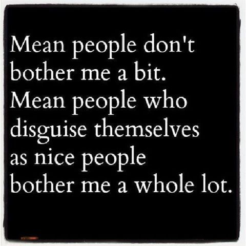 Mean people you simply ignore!! Two-faced people can only act nice for so long, their ugliness always comes out!