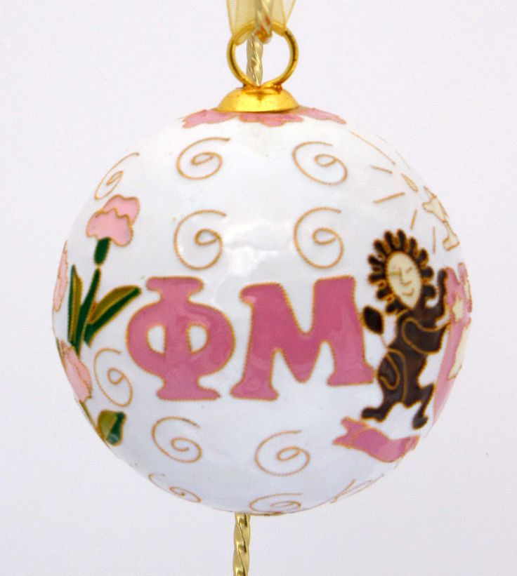 Officially licensed Phi Mu, handcrafted, 24k gold plated cloisonne ornament - www.KittyKeller.com