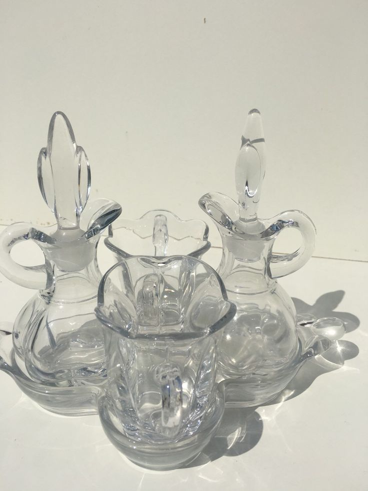 A personal favorite from my Etsy shop https://www.etsy.com/listing/356941686/crystal-clear-glass-cruet-set-oil-and