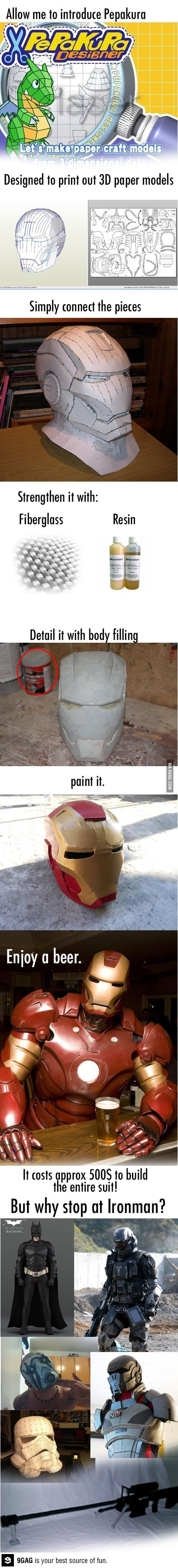 Pepakura - print out 3D paper models. Made Iron man mask.