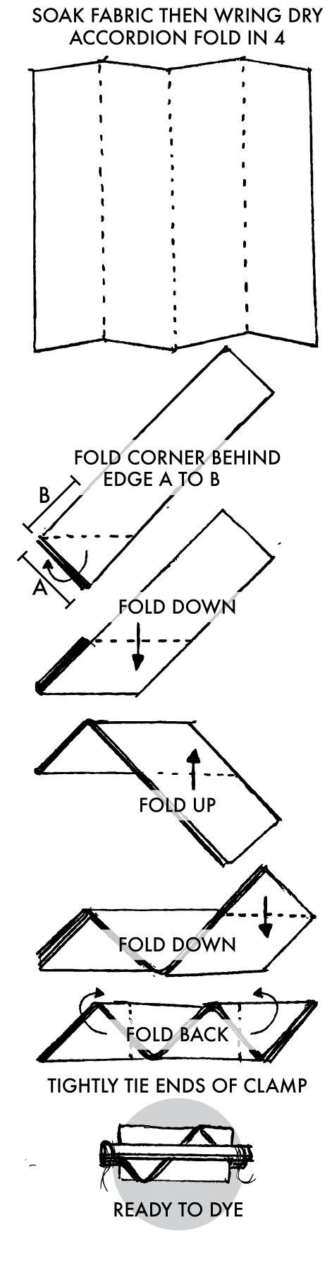 Clamped Shibori Chevron Instructions