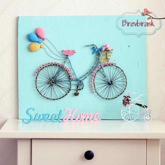 Bike String Art . Wall hanging , Bike , Home decor