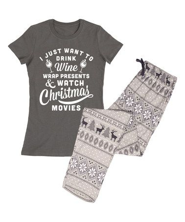 Another great find on #zulily! Charcoal 'Wine & Christmas Movies' Pajama Set…