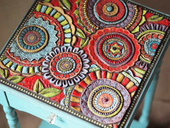 Mosaic Side Table in Turquoise One of a Kind by romyandclare