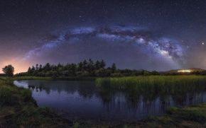 Обои звезды, деревья, млечный путь, небо, ночь, озеро
