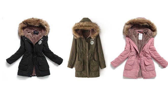 Womens Luxury Fur Lined Parka Coat