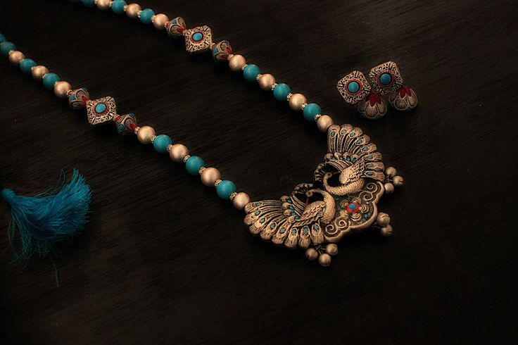 Earthern peacock terracotta jewellery set