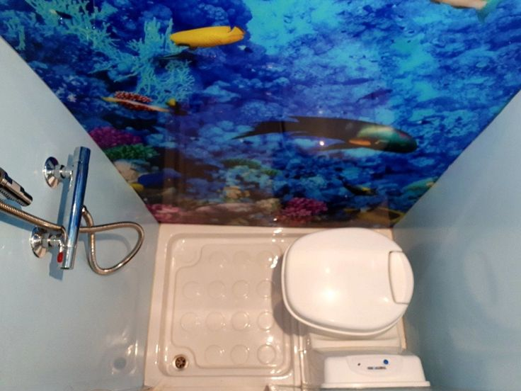 Shower Room Inside A Mercedes Sprinter Van Conversion Maximising Space And Using An Underwater Theme
