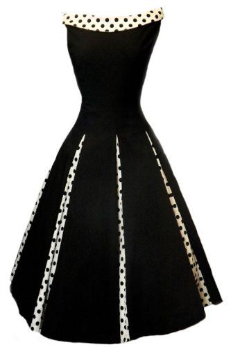 Black Vintage-style Swing Cocktail Party Dress - contrasting polka dot collar, that sits across the collar bone; 8 inverted Polka Dot panels; Side zip fastening, with a stretchy fabric for that perfect fit.