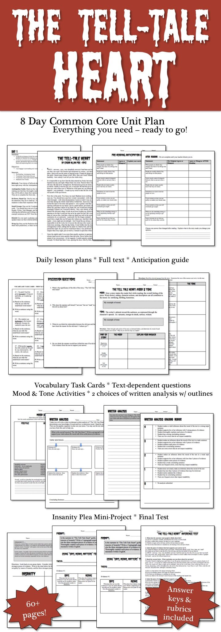 17 best images about teaching writers notebook tell tale heart by edgar allan poe 8 day common core aligned unit plan