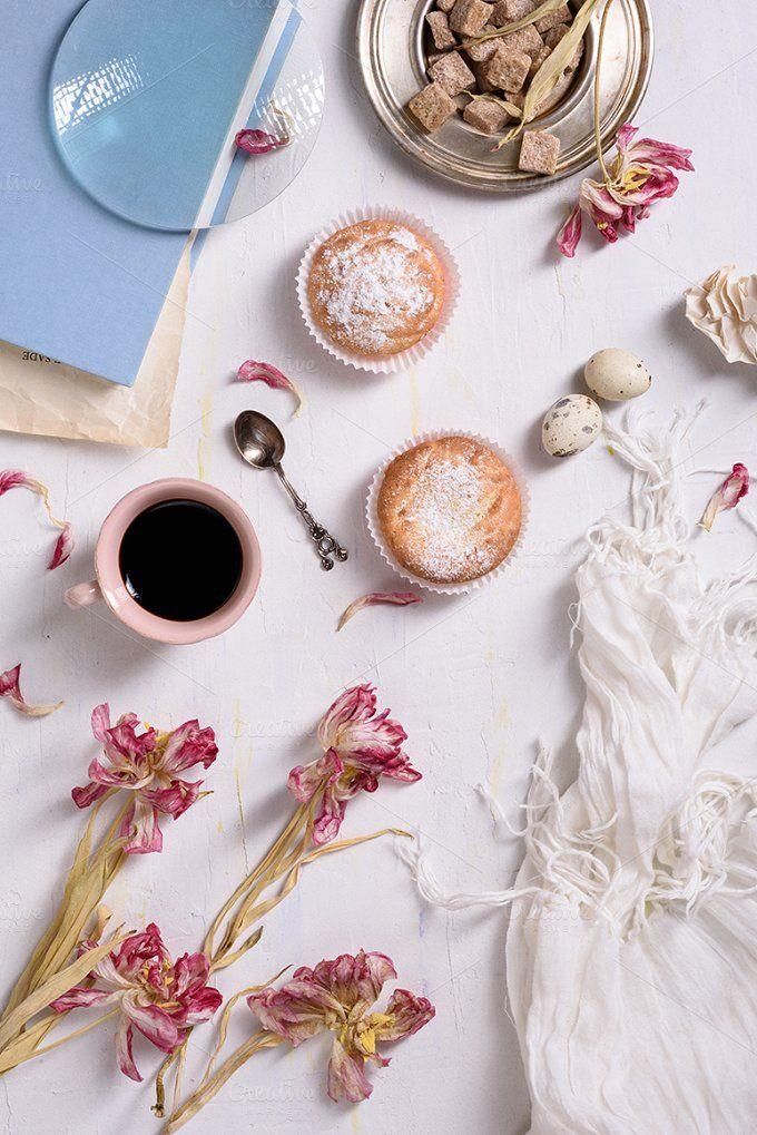 Breakfast with tulips by Iuliia Leonova on @creativemarket