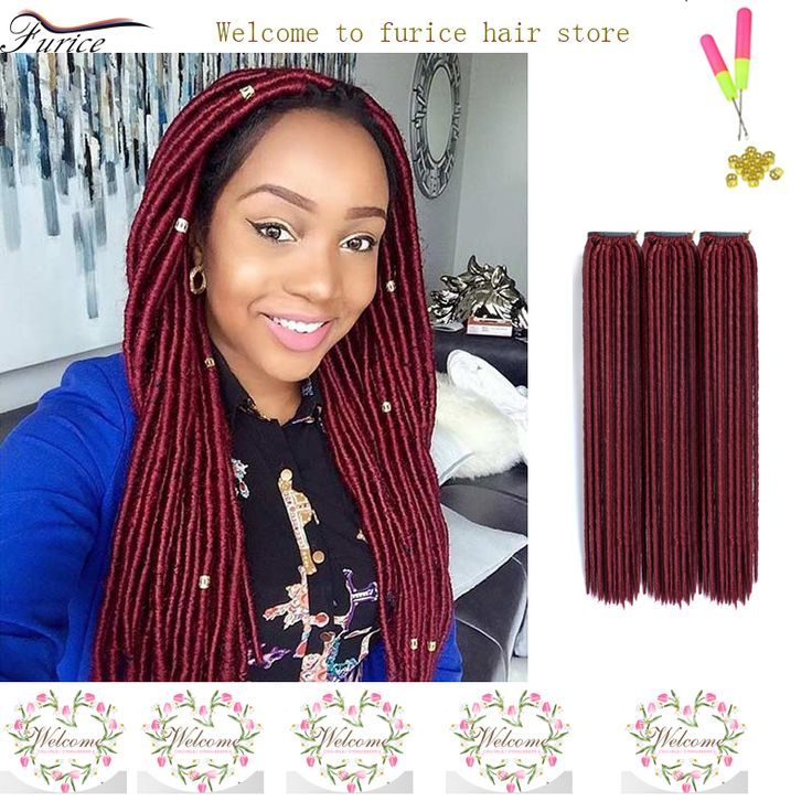 Burgundy Braiding Hair Faux Locs 18 Inch Crochet Twist Hair Extension Crotchet Box Braids Havana Senegalese Twist Hair Burgundy