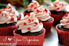 I Heart You Chocolate-Strawberry Cupcakes