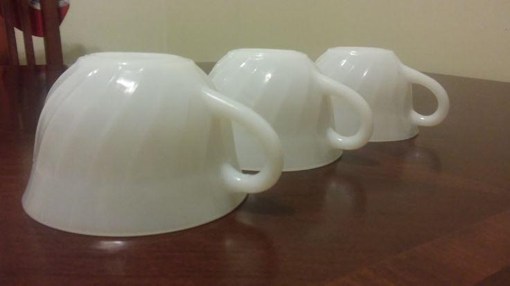 vintage milk glass fire king mug teacups by HappyVintageStudio on Etsy