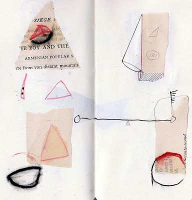 "Jack Oudyn -mixed media drawings from artist book ""Thin Red Line"""