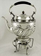 English Sterling Silver Victorian Kettle & Stand   w Burner    1890   Rare Maker