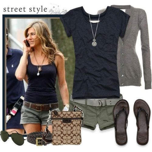 >>> Black tank or t-shirt.  Grey cardi.  Olive green shorts or skirt.  Brown sandals.