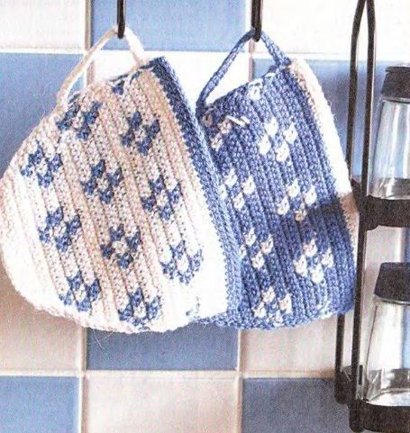 Crochet tea cup pot holders - can probably figure this out from chart. Will have to work on size of yarn and needle.