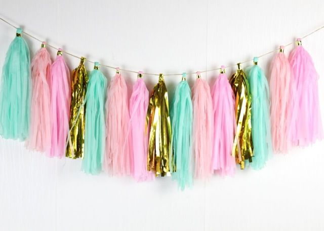 16 stks/partij roze mint gold photo prop foto achtergrond party woondecoratie baby douche kwastje guirlande