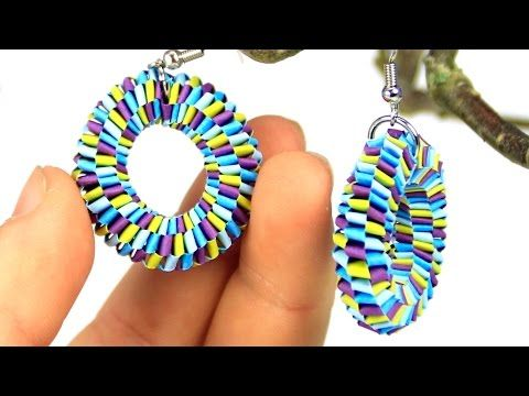 Earrings with quilling strips - YouTube