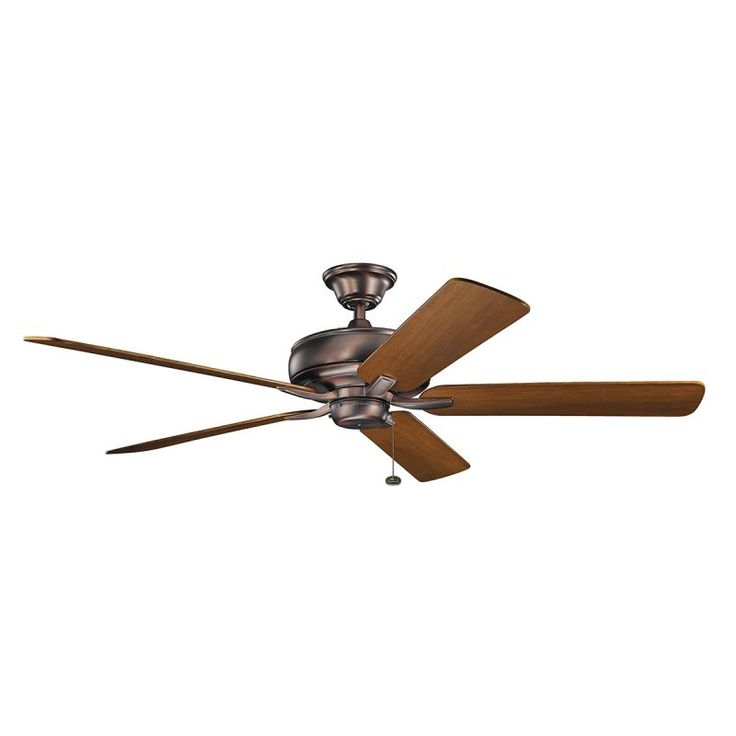 "Kichler 330249 60"" Indoor Ceiling Fan with Blades Downrod and Pull Chain Oil Brushed Bronze Fans Ceiling Fans Indoor Ceiling Fans"