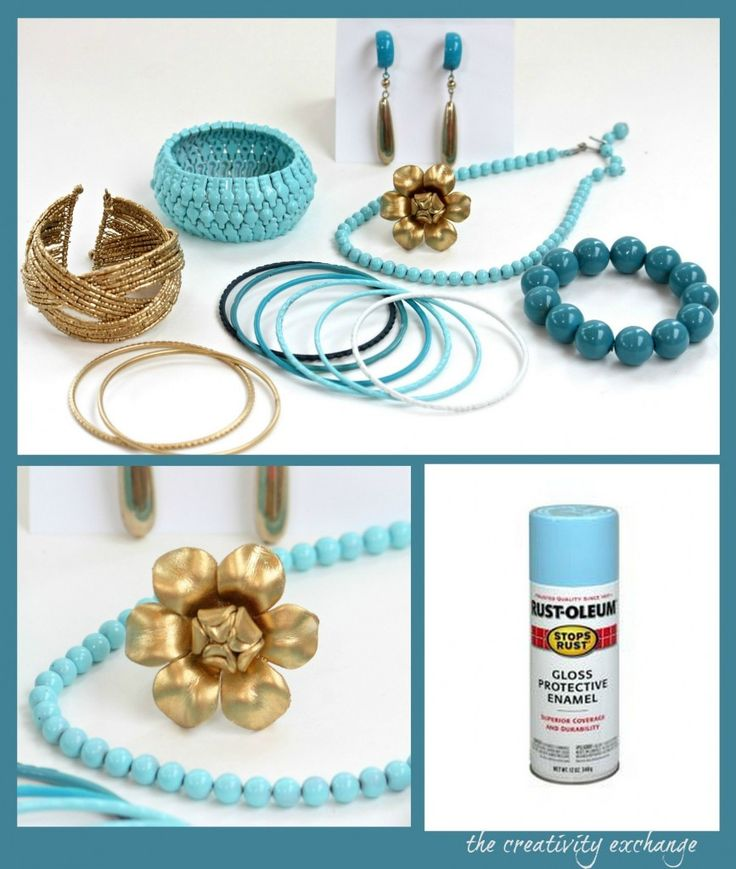 Tutorial for transforming old junk jewelry with spray enamel from The Creativity Exchange