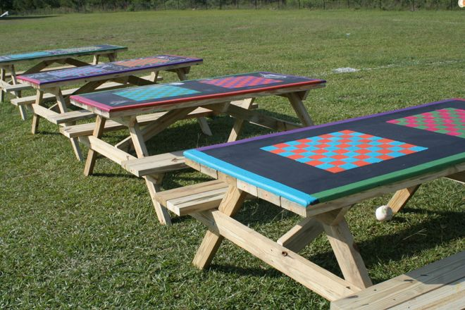 Update your playground picnic tables with a chess board design so students can…