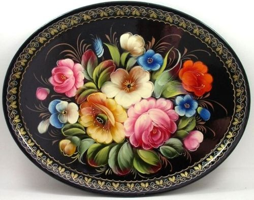 Zhostovo Russian Handpainted Tole Tray #1929   eBay