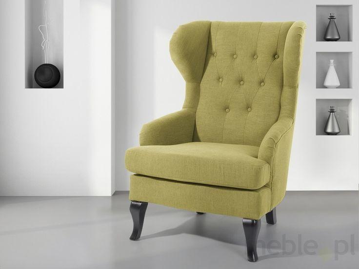 Fotel oliwkowy - tapicerowany - pikowany - do salonu - ALTA, Beliani - Meble