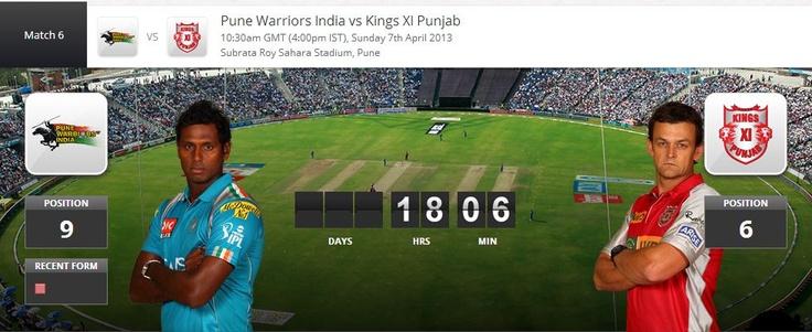 Watch Online IPL 6 PWI vs KXI Punjab - 7/4/ 2013 -7 April 2013 -Live Stream
